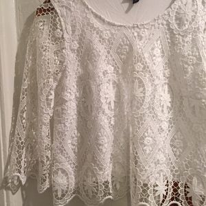 White TOPSHOP doilie shirt
